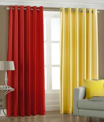 Export Hub Polyester Red, Yellow Plain Eyelet Door Curtain
