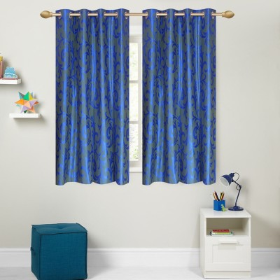 Yellow Weaves Polyester Blue Floral Eyelet Window Curtain