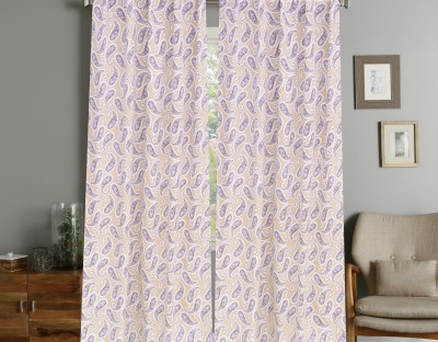 COLORS FOR LIVING Cotton Beige, Brown Paisley Concealed Tab Top Window Curtain