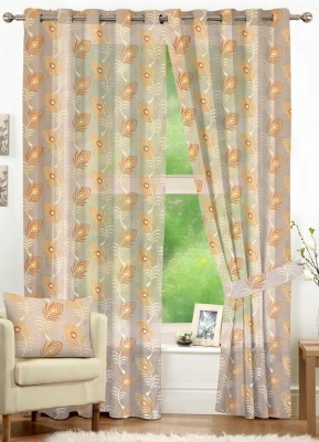 NuHome Decor Polyester Beige Embroidered Eyelet Long Door Curtain