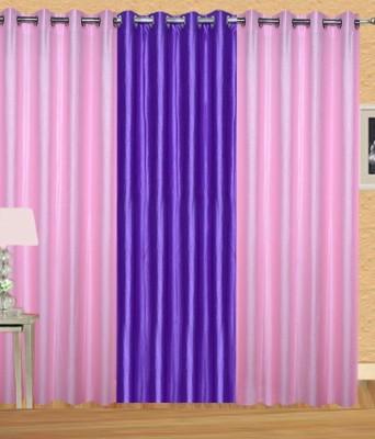 HandloomVilla Polyester Pink, Purple Solid Eyelet Door Curtain