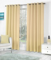 Panipat Textile Hub Polyester Beige Plain Eyelet Door Curtain(213.5 cm in Height, Pack of 2)