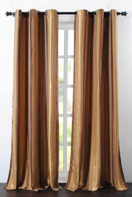 Deco Essential Polyester Gold Brown Mix Plain Eyelet Door Curtain
