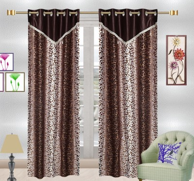 Comfort Zone Polyester Dark And Light Brown Floral Eyelet Long Door Curtain