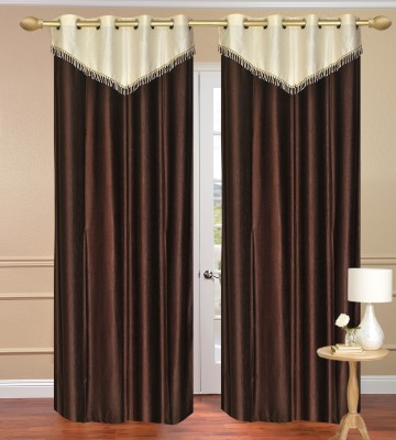 Daddyhomes Polyester Brown Solid Eyelet Door Curtain