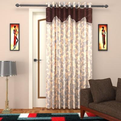 Elegance Handlooms CD6 Polyester Sandal, Choco Brown Floral Concealed Tab Top Door Curtain