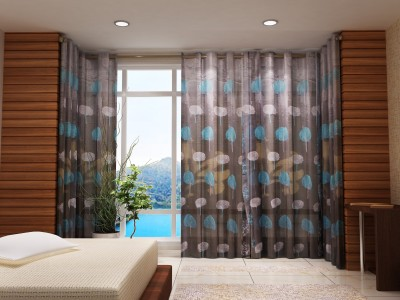 Zeneeze Decor Polyester Blue Floral Eyelet Door Curtain