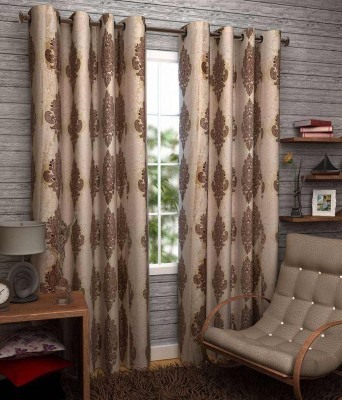 Click Weaves Polyester Brown Floral Eyelet Long Door Curtain