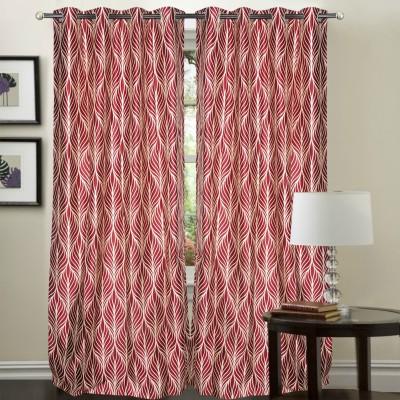 Hargunz Polyester Maroon Floral Eyelet Door Curtain