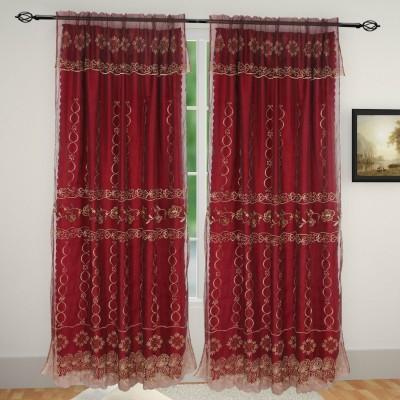 Muren Satin Maroon Self Design Eyelet Door Curtain