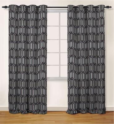 Oro Decor Polyester Plum Geometric Eyelet Long Door Curtain