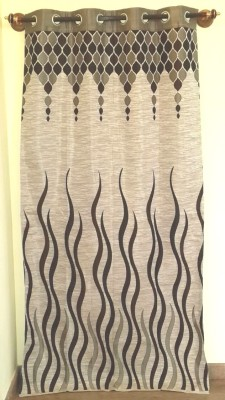 Trendy Home Jacquard Brown Striped Eyelet Window Curtain