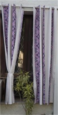 Muren Polyester White Self Design Eyelet Door Curtain