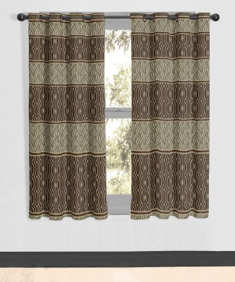 Vivace Homes Polyester Brown Geometric Eyelet Window Curtain