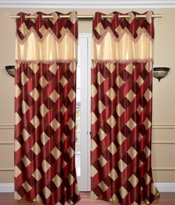 Jh Decore Polyester Brown Checkered Eyelet Door Curtain