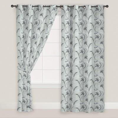 PRESTO Polyester Black Floral Eyelet Window Curtain