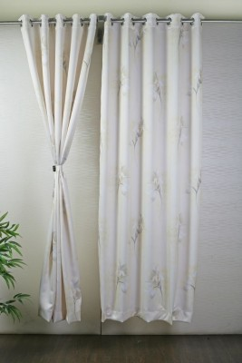Bloom Polyester White Solid Eyelet Door Curtain