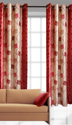 India Furnish Polyester Red Printed Eyelet Door Curtain