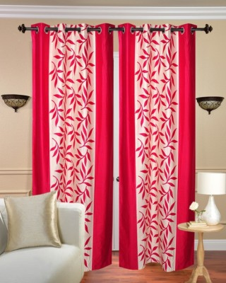 Fresh From Loom Polyester Pink Floral Curtain Window Curtain