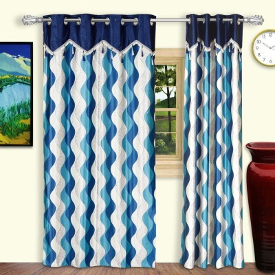 Dreaming Cotton Polyester Blue Geometric Eyelet Door Curtain