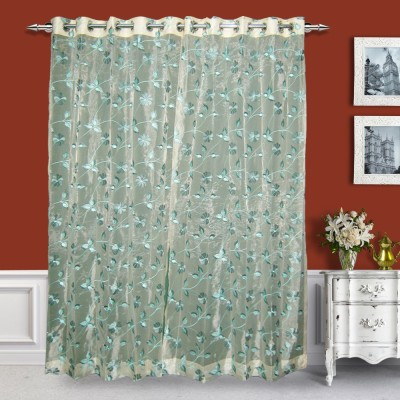 Just Linen Polyester Pink Floral Eyelet Door Curtain