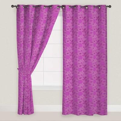 Presto Polyester Pink Floral Eyelet Door Curtain