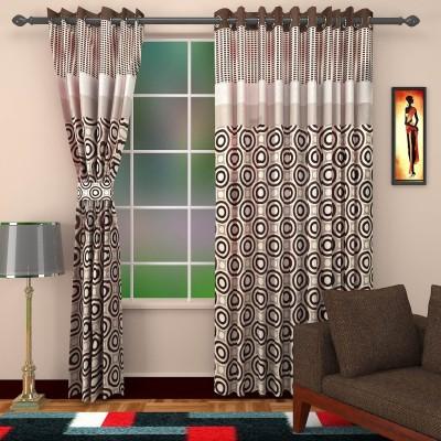 DBR Viscose Multicolor Abstract Eyelet Door Curtain