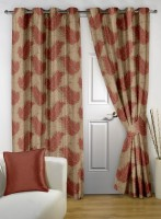 Story@Home Polyester White Printed Eyelet Door Curtain(215 cm in Height, Pack of 2)