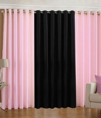 The Decor Hub Polyester Baby Pink, Black Plain Eyelet Window Curtain