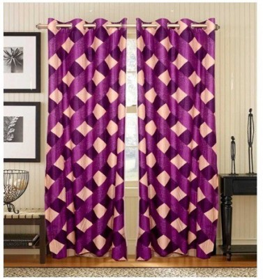 0 Polyester Purple Floral Tab Top Door Curtain