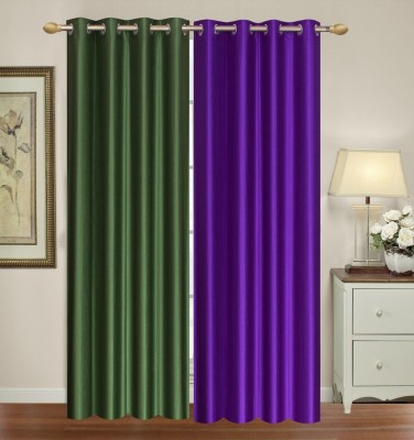 Furnishing Zone Polyester Green, Purple Plain Eyelet Long Door Curtain