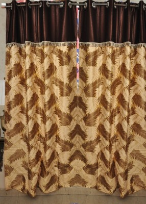 Madhav Product Polyester Mehroon Floral Eyelet Door Curtain