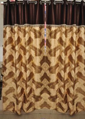 HandloomVilla Polyester Brown Floral Eyelet Door Curtain