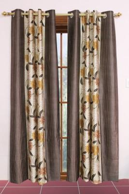 Metro Living Polyester Brown Floral Eyelet Window Curtain