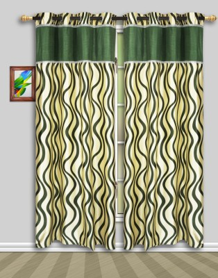 Harry Tex Polyester Green Floral Eyelet Door Curtain