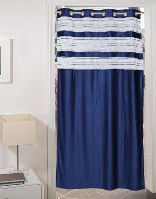 AJ Retails Polyester Stunning Blue, Chic Grey Striped Eyelet Door Curtain