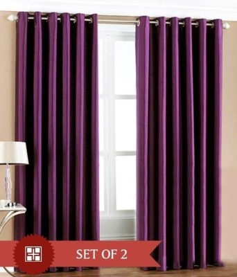 Home Candy Polyester Purple Solid Eyelet Door Curtain