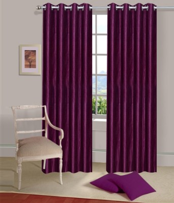 PHF Polyester Purple Plain Eyelet Long Door Curtain