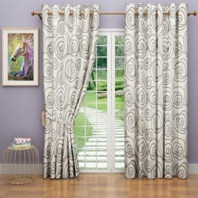 G M HomeFashion Polyester Multicolor Self Design Eyelet Door Curtain