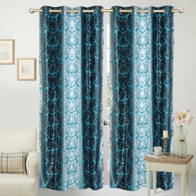 Home Fashion Polyester Blue Printed Eyelet Door Curtain
