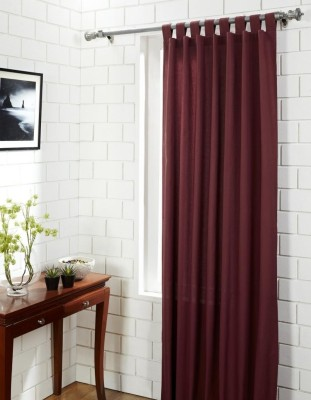 House This Cotton Red Motif Tab Top Door Curtain