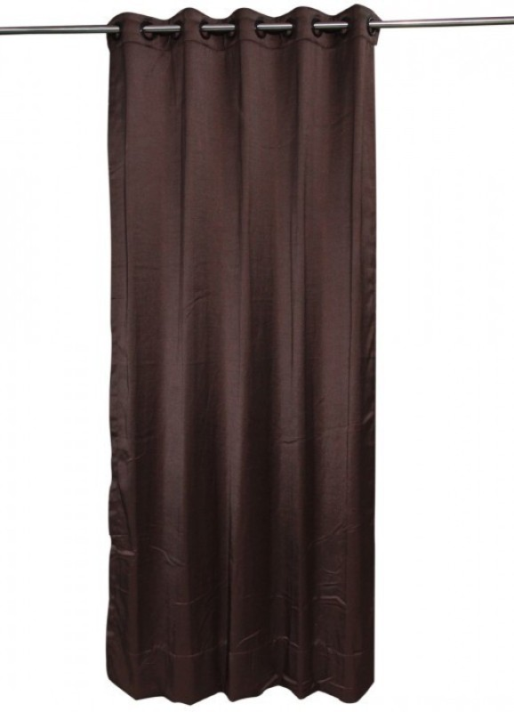 ANIQ Polycotton Brown Plain Curtain Door Curtain(210 cm in Height, Single Curtain)