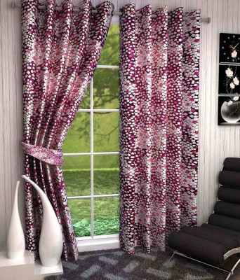Divine Polyester Pink Abstract Eyelet Window Curtain