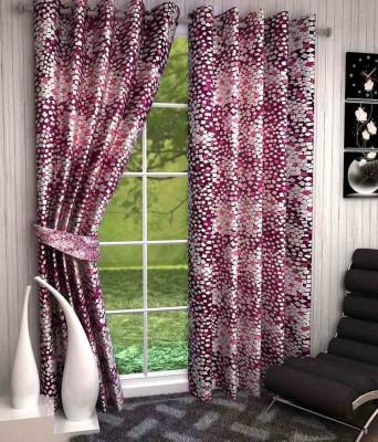 Kanha Polyester Multicolor Abstract Eyelet Long Door Curtain