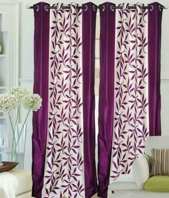Raj Shobha Home Decor Polyester Purple Floral Eyelet Door Curtain