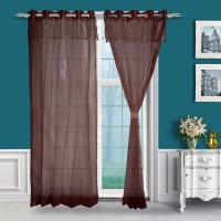 Just Linen Polyester Maroon Solid Eyelet Door Curtain(213 cm in Height, Pack of 2)