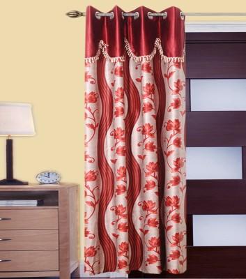 JMT Polyester Multicolor Self Design Eyelet Door Curtain