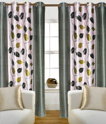 Madavs Polyester Green Floral Eyelet Door Curtain