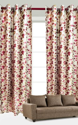 India Furnish Polycotton Pink Floral Eyelet Long Door Curtain