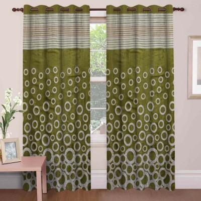 Mdf Curtains Polycotton Green Geometric Eyelet Door Curtain